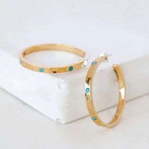 ✨Anna Beck  Turquoise Hammered Pavé Hoop Earrings.